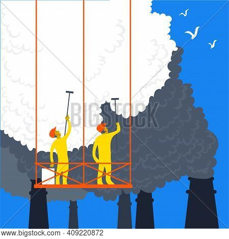 Vector Illustration In A Flat Style. The Concept Of Ecology As A Norm Of Life. People Clean Up Harmf