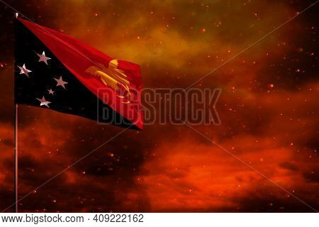 Fluttering Papua New Guinea Flag Mockup With Blank Space For Your Data On Crimson Red Sky With Smoke