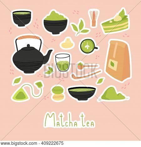 Green Matcha Tea. Set Of Matcha Healthy Drink Stickers. Various Tea Products. Japanese Tea Culture.