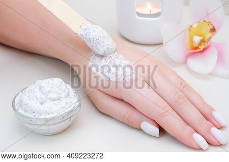 Skin Care Concept. Body And Hand Scrub. Home Skin Care. Spa Treatment For Hands. Young Woman Applyin