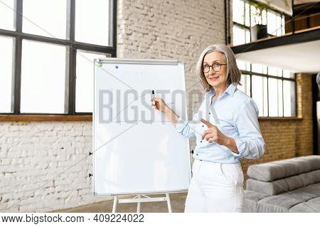 Modern Senior Female School Teacher Streaming Lesson Online, Professor, College Tutor Or Coach Looki