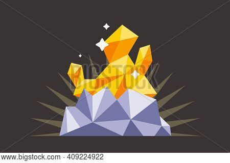 Find A Gold Nugget In The Dark Mine. Flat Vector Illustration