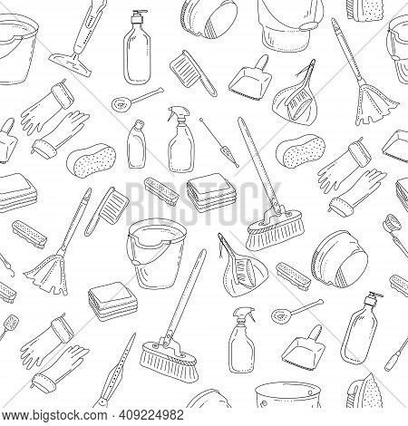 Cleaning Tools Seamless Pattern.washing Equipment For Floor,windows And Dust Removing.vector Doodle