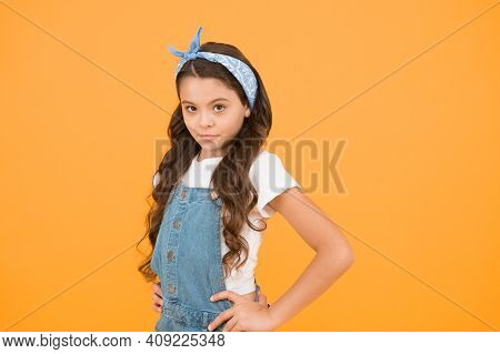 Summer Outfit Concept. Girl Long Curly Hair. Fashion Trend. Little Fashionista. Happy Childhood. Mod