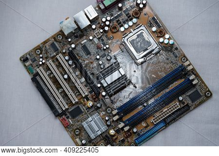 Bird's Eye View Of Mainboard Hardware And Computer Technology