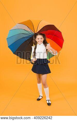 Everything Under Control. Fancy Schoolgirl. Girl With Umbrella. Rainy Day. Happy Childhood. Rainbow