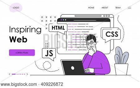 Male Character In Glasses Is Web Programming. Man Is Programming Website On Laptop. Website, Web Pag