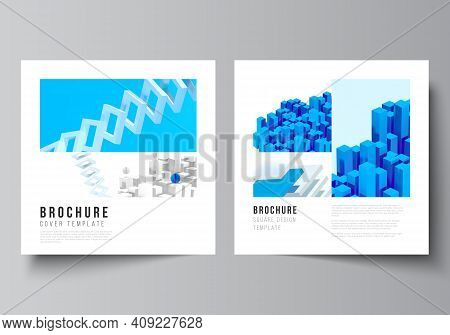 Vector Layout Of Two Square Format Covers Templates For Brochure, Flyer, Cover Design, Book Design,