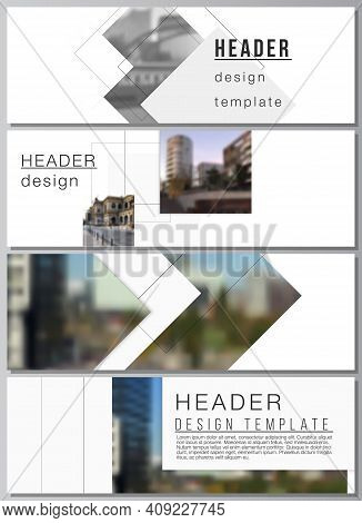Vector Layout Of Headers, Banner Design Templates With Geometric Simple Shapes, Lines And Photo Plac