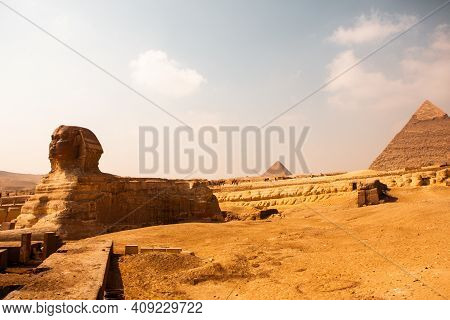 Famous Egyptian Pyramids Of Giza.  Landscape In Egypt. Pyramid In Desert. Africa. Wonder Of The Worl