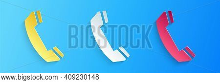 Paper Cut Telephone Handset Icon Isolated On Blue Background. Phone Sign. Call Support Center Symbol