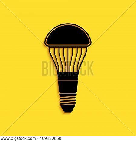 Black Led Light Bulb Icon Isolated On Yellow Background. Economical Led Illuminated Lightbulb. Save
