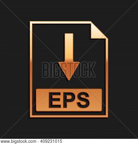 Gold Eps File Document Icon. Download Eps Button Icon Isolated On Black Background. Long Shadow Styl