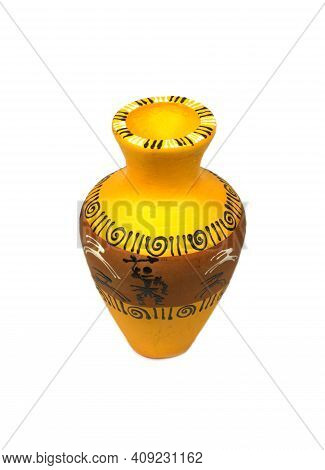 Antique Yellow Clay Vase With Painted Picture Ornament Isolated On White Background Top View Vertica