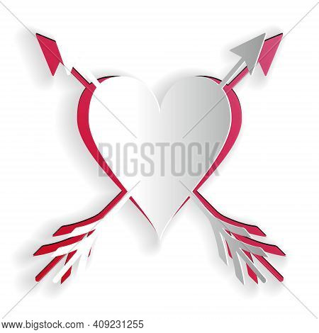Paper Cut Heart With Arrow Icon Isolated On White Background. Happy Valentines Day. Cupid Dart Pierc