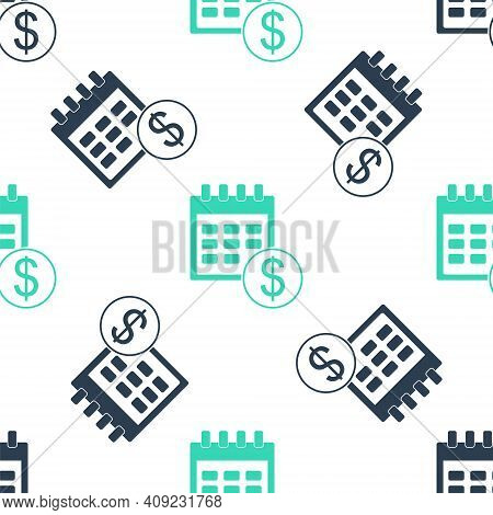 Green Financial Calendar Icon Isolated Seamless Pattern On White Background. Annual Payment Day, Mon