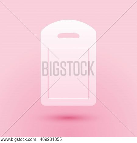 Paper Cut Cutting Board Icon Isolated On Pink Background. Chopping Board Symbol. Paper Art Style. Ve