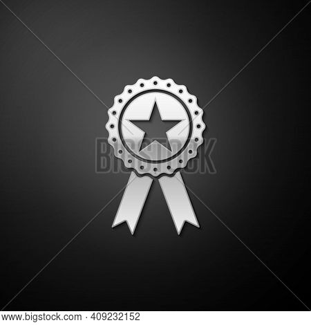 Silver Award Medal With Star And Ribbon Icon Isolated On Black Background. Winner Achievement Sign.