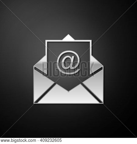 Silver Mail And E-mail Icon Isolated On Black Background. Envelope Symbol E-mail. Email Message Sign