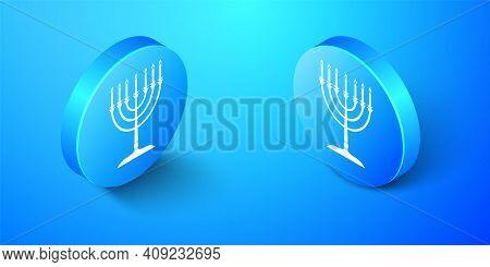 Isometric Hanukkah Menorah Icon Isolated On Blue Background. Religion Icon. Hanukkah Traditional Sym
