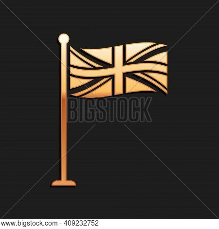 Gold Flag Of Great Britain On Flagpole Icon Isolated On Black Background. Uk Flag Sign. Official Uni