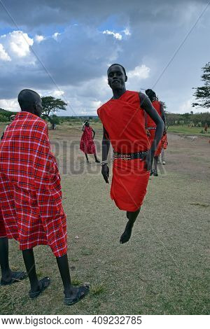 Masai Mara, Kenya; 16-08-2018; Unknown Man From A Masai Tribe Jumping In Kenya
