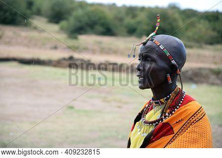 Masai Mara, Kenya; 16-08-2018: Unknown Native Woman From A Masai Tribe In Kenya