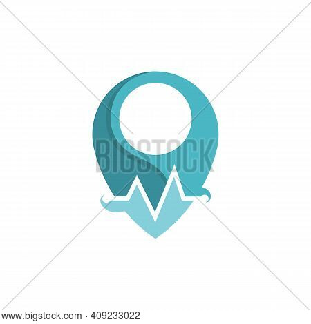 Medical Clinic Location Logo Design. Abstract Location Combination With Medical Stethoscope Logo Des