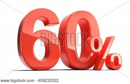 Sixty 60 percent. Glossy red Sixty percent sign isolated on white. Percentage, sale, discount concept. 3d rendering