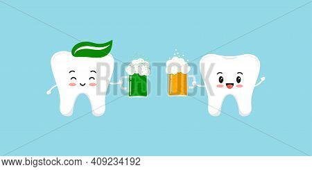 St Patrick Day Teeth With Beer Clink Glasses. Cute Dental Happy Tooth Irish Character With Glass Of