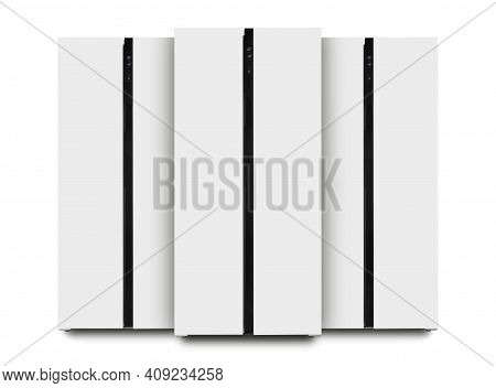 Major Appliance - Three Front View White Two-door Side By Side Refrigerator Fridge On A White Backgr