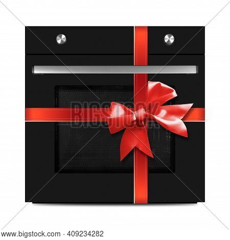 The Black Electric Oven Gift Tied Red Bow On A White Background. It Is Isolated, The Worker Of Paths