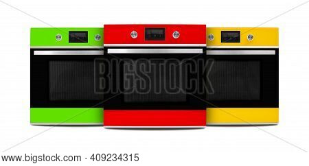 Household Appliances - Red, Green And Yellow Electrical Ovens Isolated On A White Background.