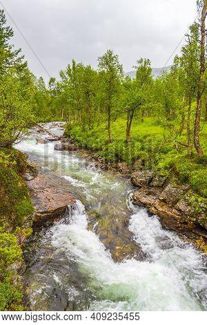 Beautiful Turquoise River Waterfall Vettisfossen Utladalen Norway. Most Beautiful Landscapes.