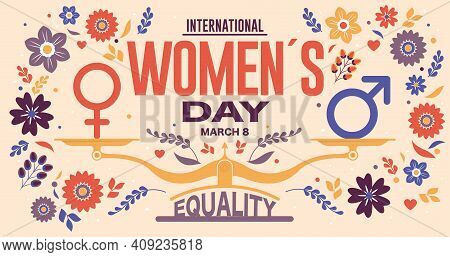 Greeting Card Of International Women S Day. Text In Red Color And Scale With Equality Word And Male,