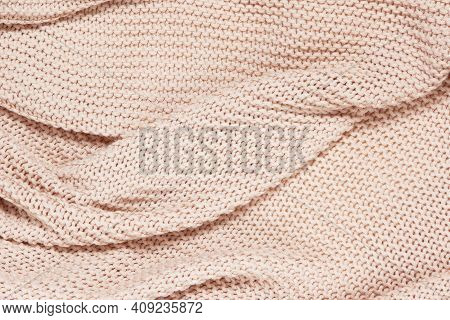 Textured Surface Of Knitted Cotton Wave Plaid, Top View, Closeup. Soft Dusty Pink Pastel Wool Backdr
