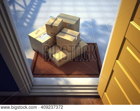 Online purchase delivery service concept. Cardboard parcels boxes delivered outside the door. Parcels on the door mat and open entrance door. 3d rendering