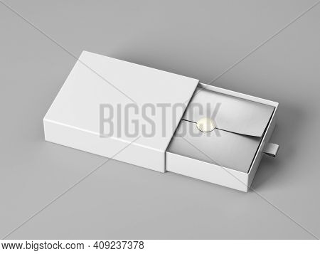 Blank open box packaging mockup isolated on grey background, Template for your design - branding mockup. 3d rendering.