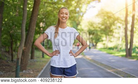 Woman Runner Standing Before Exercising Summer Park Morning Middle Age Athletic Female Warming Up Bo