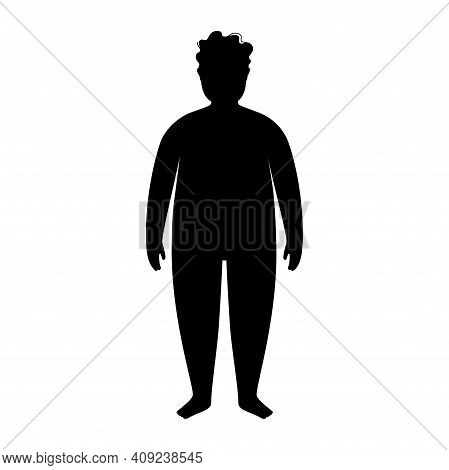 Man Or Kid Silhouette With Obese Figure. Male Persons With Overweight. High Bmi Range. Adult Or Chil