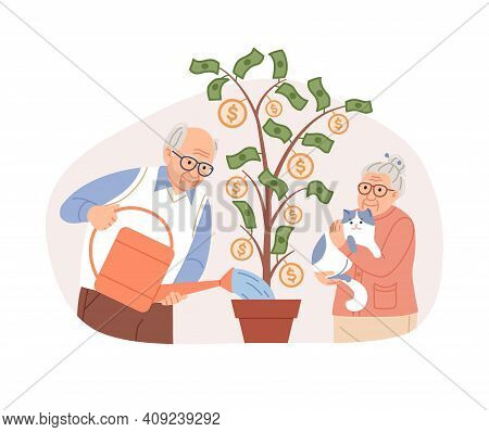 Elderly Couple Watering Potted Money Tree, Coins, Dollars. Pension Fund Saving Plan Concept. Aged Pe