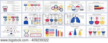 Bundle Medical Services Infographics Presentation Slides Template. Different Charts, Diagram, Workfl