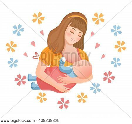 Mother Breastfeeding Newborn Baby. Woman Holds Her Child In Hands And Feeds With Breast Milk. Mother