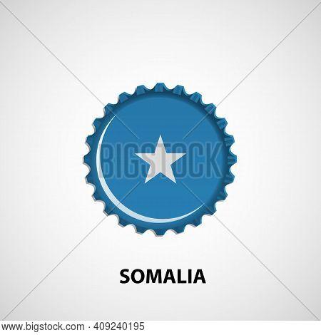 Flag Bottle Cap On White Background. Somalia Flag Background. Abstract Isolated Vector Illustration