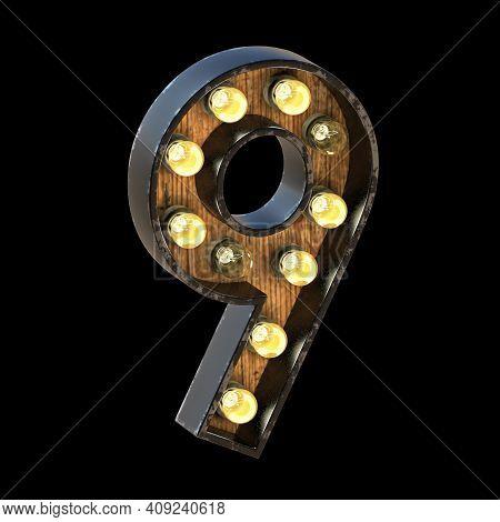 Light Bulbs Font Number 9 Nine 3d Render Illustration Isolated On Black Background