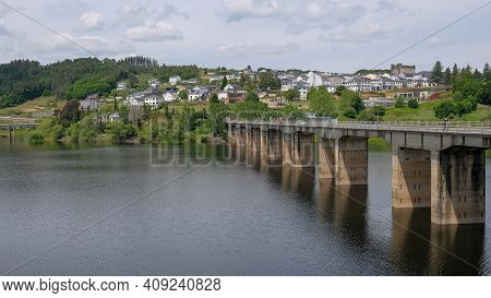 Landscape View Of Famous Bridge And Historical Town In Portomarin On Santiago Way Route, Spain Galic