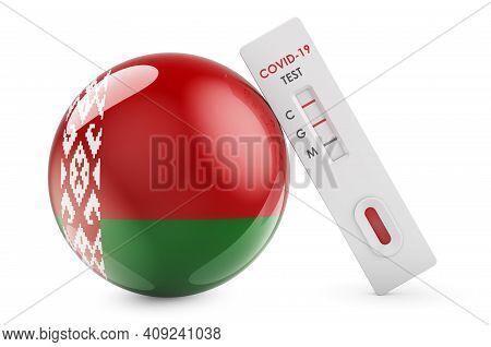 Diagnostic Test For Coronavirus In Belarus. Antibody Test Covid-19 With Belarusian Flag, 3d Renderin