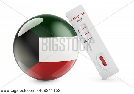 Diagnostic Test For Coronavirus In Kuwait. Antibody Test Covid-19 With Kuwaiti Flag, 3d Rendering Is