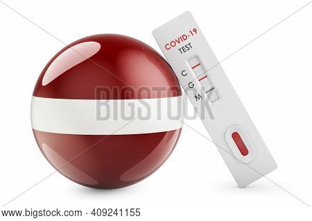 Diagnostic Test For Coronavirus In Latvia. Antibody Test Covid-19 With Latvian Flag, 3d Rendering Is