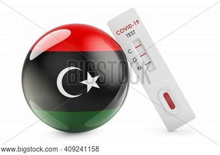 Diagnostic Test For Coronavirus In Libya. Antibody Test Covid-19 With Libyan Flag, 3d Rendering Isol